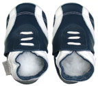 Bobux very soft navy sport leather shoe  and suede sole to prevent slipping.
