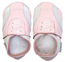 Bobux very soft pink leather tennis style  shoes with suede sole to prevent slipping.