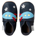 Bobux very soft navy leather shoes with a  rocket and a suede sole to prevent slipping.