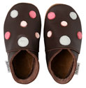 Bobux very soft chocolate leather shoes with a  multi dots and a suede sole to prevent slipping.