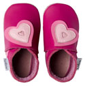 Bobux very soft fuchsia leather shoes with a  double heart and a suede sole to prevent slipping.