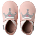 Bobux very soft pink leather shoes with a  crown and a suede sole to prevent slipping.