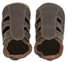 Bobux very soft chocolate leather sandals with   suede sole to prevent slipping.