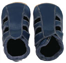 Bobux very soft navy leather sandals with   suede sole to prevent slipping.