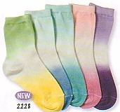 Jefferies very soft dip dye crew socks with elastic at the top.  Comes in lime/yellow, blue, pink, and purple.