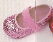 Lamour pink glitter shoes with a velcro strap with flower.