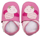 Bobux very soft pink leather shoes with a baby bee with suede sole to prevent slipping.