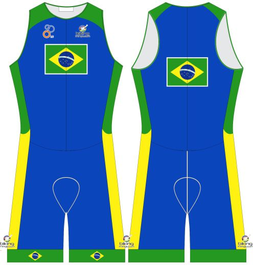 Brazil Tricolor Custom Tri Suit, Brazil Flag Triathlon Gear