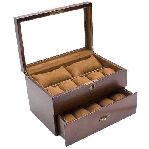 Vintage Finish Gl Top Watch Case Jewelry Display Box With Soft Pillows Holds 20 Watches
