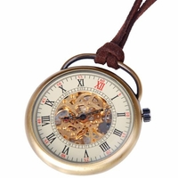 Full View Pocket Watch With Brown Leather Cord PW17