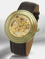 Kings and Queens Mechanical Skeleton Watch Gold Dial Black Strap