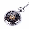 Black Mechanical Skeleton Pocket Watch PW19
