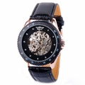 Mens Automatic Mechanical Skeleton Watch Self Winding Black Leather Strap AMW-03