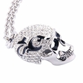 Silver Crystal Skull Pendant Necklace with Quality Silver Plated Chain