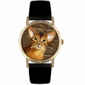 Abyssinian Cat Print Watch in Gold Classic P 0120033