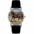 American Saddlebred Horse Print Watch in Silver Classic R 0110024