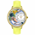 Birthstone Jewelry March Birthstone Watch in Gold or Silver Unisex G 0910003
