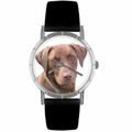 Chocolate Labrador Retriever Print Watch in Silver Classic R 0130011