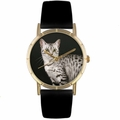 Egyptian Mau Cat Print Watch in Gold Classic P 0120041