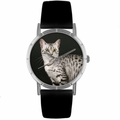 Egyptian Mau Cat Print Watch in Silver Classic R 0120041