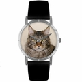 Main Coon Cat Print Watch in Silver Classic R 0120051