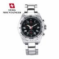 Mens Swiss Chronograph Bracelet Watch Black Dial