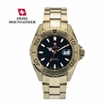 Fine Mens Bracelet Watch Gold Swiss Made