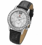 Swiss Womens Dual Time Crystal Watch