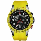 Yellow Swiss ChronoSport Watch Black Dial