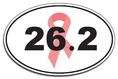 Breast Cancer Awareness 26.2 Marathon Pink Ribbon Oval Car Magnet