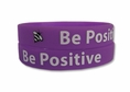 """Be Positive"" Rubber Bracelet Wristband - Adult 8"""