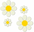 """Magnetic Daisies - Warm White  - Set of 4 (2 - 4.5"""" and 2 - 9"""")"""