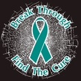 Teal Break Through...Find The Cure! Static Window Cling