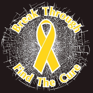 "Yellow ""Break Through... Find The Cure!"" Static Window Cling"
