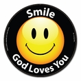 Smile God Loves You Happy Face Car Magnet