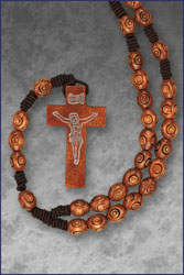 Carved Wood Bead Rosary