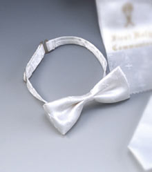 Satin First Communion White Bow Tie with Chalices