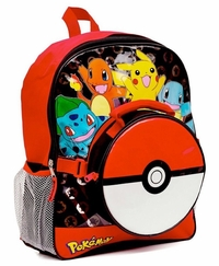 Pokemon Pikachu Charmander 16 Inch School Backpack and Attachable Pokeball Lunch Bag