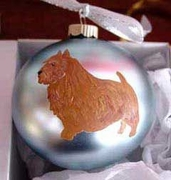 Norwich Terrier Hand Painted Christmas Ornament
