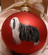 Bearded Collie Hand Painted Christmas Ornament