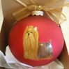 Yorkshire Terrier Hand Painted Christmas Ornament