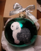 Old English Sheepdog Hand Painted Christmas Ornament