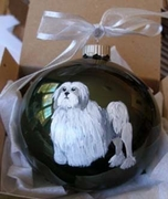 Lowchen Hand Painted Christmas Ornament