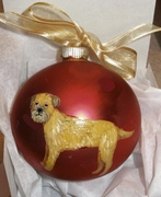 Border Terrier Hand Painted Christmas Ornament