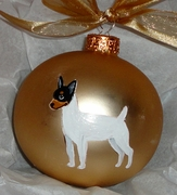 Toy Fox Terrier Hand Painted Christmas Ornament