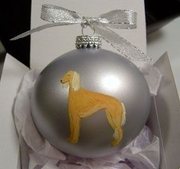 Saluki Hand Painted Christmas Ornament