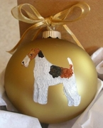 Wire Fox Terrier Hand Painted Christmas Ornament