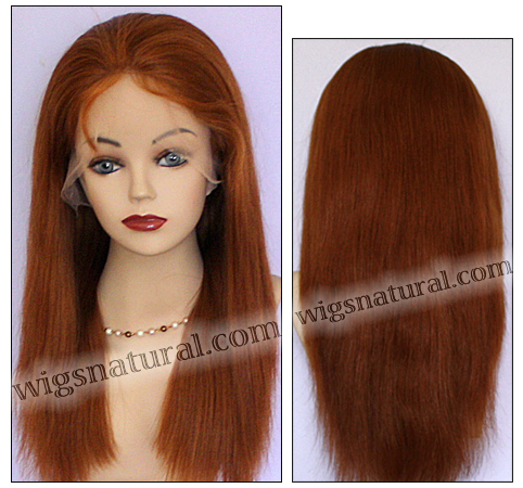 Silk top full lace wig, or Full lace wig, Virgin European hair, virgin Brazilian hair, or virgin Asian hair, style VW-CRed-straight-M28x24-22