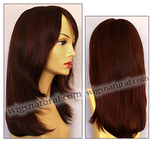 Envy mono top wig Madison, color shown dark red