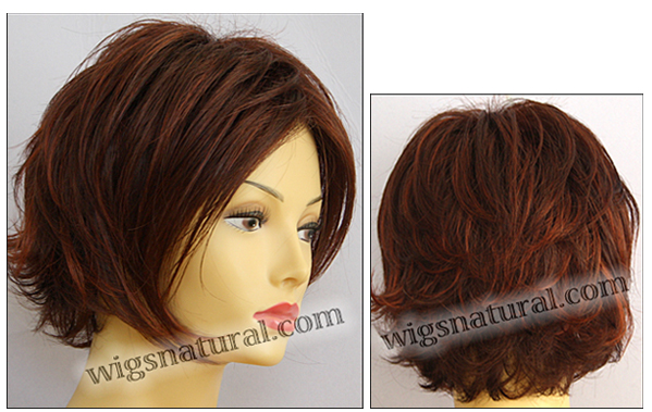 Envy mono top with lace front wig Angie, color shown dark red